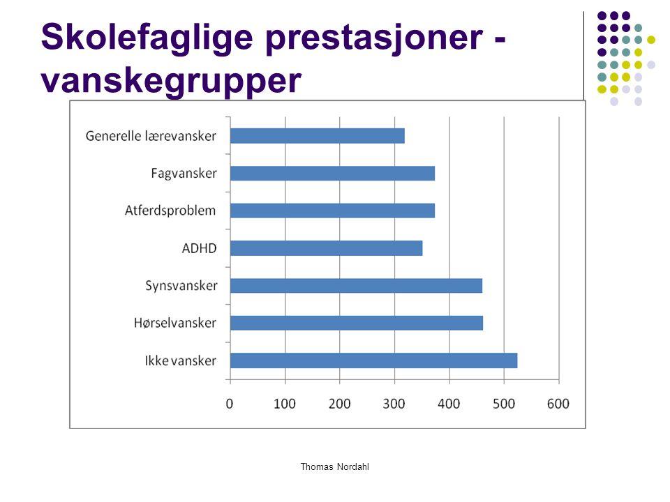 Skolefaglige prestasjoner - vanskegrupper Thomas Nordahl