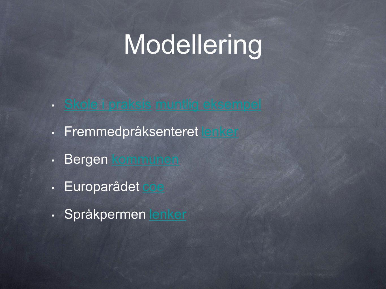 Modellering • Skole i praksis muntlig eksempel Skole i praksismuntlig eksempel • Fremmedpråksenteret lenkerlenker • Bergen kommunenkommunen • Europarådet coecoe • Språkpermen lenkerlenker