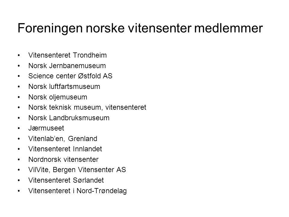 Foreningen norske vitensenter medlemmer •Vitensenteret Trondheim •Norsk Jernbanemuseum •Science center Østfold AS •Norsk luftfartsmuseum •Norsk oljemu