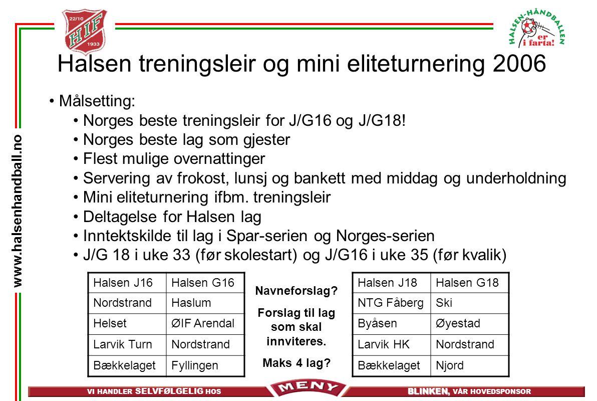 VI HANDLER SELVFØLGELIG HOS BLINKEN, BLINKEN, VÅR HOVEDSPONSOR www.halsenhandball.no Halsen treningsleir og mini eliteturnering 2006 • Målsetting: • Norges beste treningsleir for J/G16 og J/G18.