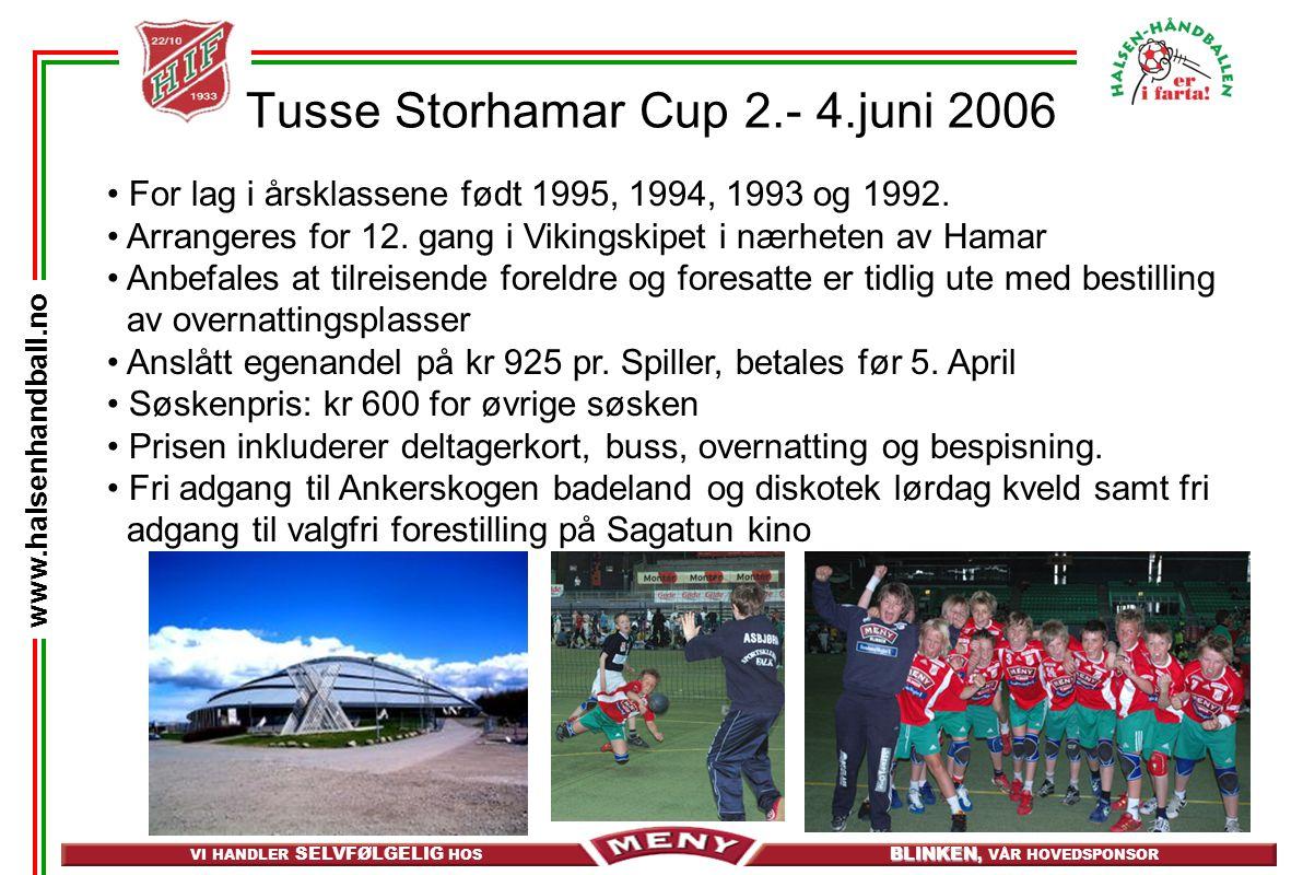 VI HANDLER SELVFØLGELIG HOS BLINKEN, BLINKEN, VÅR HOVEDSPONSOR www.halsenhandball.no Tusse Storhamar Cup 2.- 4.juni 2006 • For lag i årsklassene født 1995, 1994, 1993 og 1992.