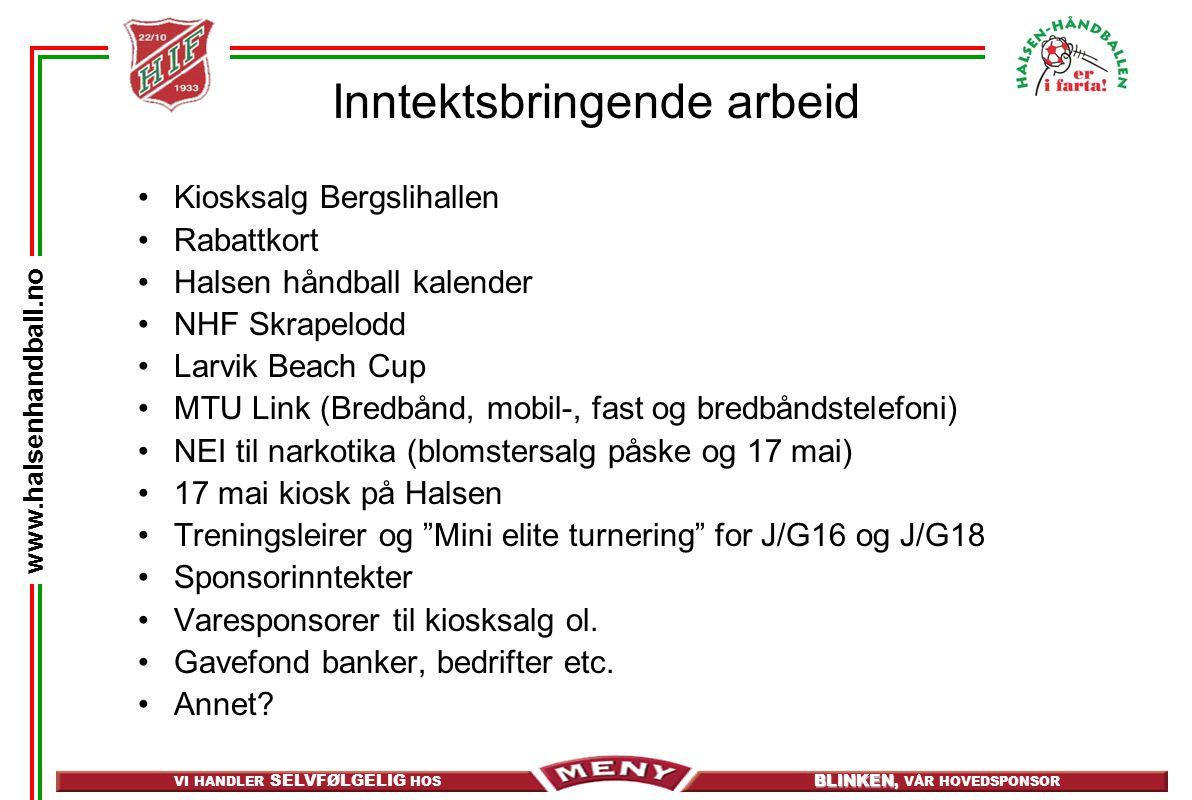 VI HANDLER SELVFØLGELIG HOS BLINKEN, BLINKEN, VÅR HOVEDSPONSOR www.halsenhandball.no Inntektsbringende arbeid •Kiosksalg Bergslihallen •Rabattkort •Halsen håndball kalender •NHF Skrapelodd •Larvik Beach Cup •MTU Link (Bredbånd, mobil-, fast og bredbåndstelefoni) •NEI til narkotika (blomstersalg påske og 17 mai) •17 mai kiosk på Halsen •Treningsleirer og Mini elite turnering for J/G16 og J/G18 •Sponsorinntekter •Varesponsorer til kiosksalg ol.