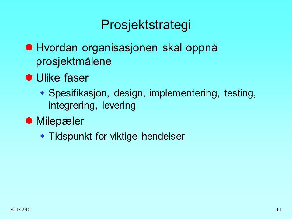 BUS24011 Prosjektstrategi  Hvordan organisasjonen skal oppnå prosjektmålene  Ulike faser  Spesifikasjon, design, implementering, testing, integrering, levering  Milepæler  Tidspunkt for viktige hendelser