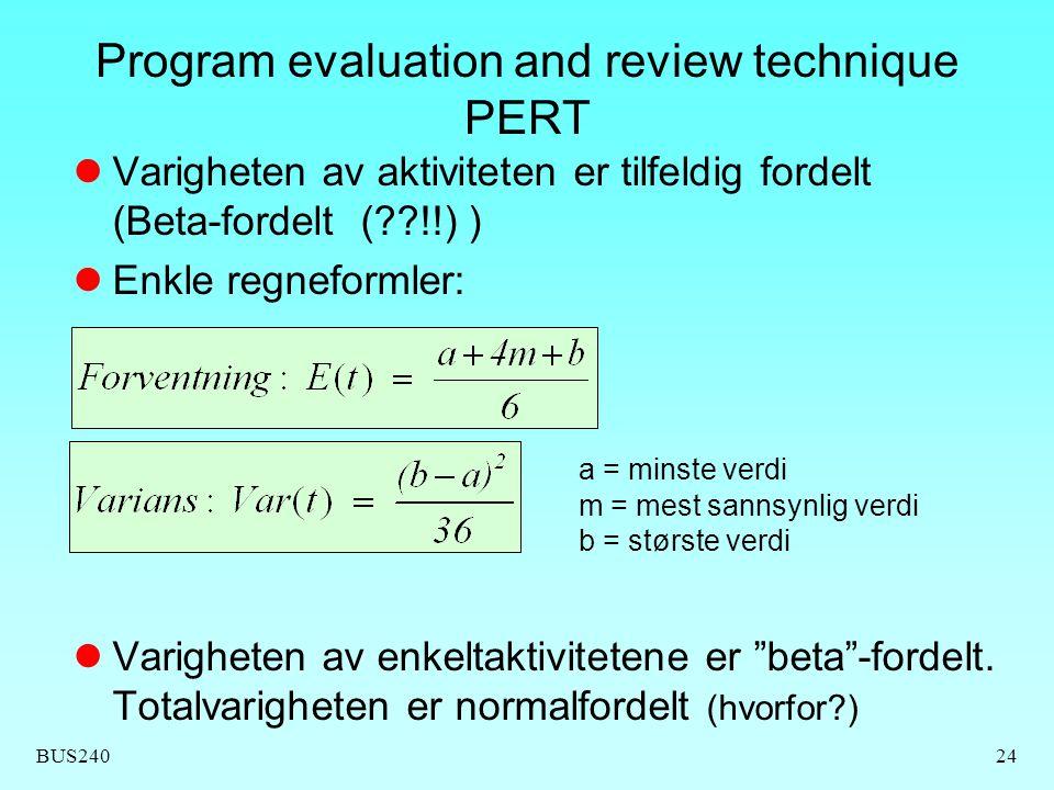 BUS24024 Program evaluation and review technique PERT  Varigheten av aktiviteten er tilfeldig fordelt (Beta-fordelt (??!!) )  Enkle regneformler: a = minste verdi m = mest sannsynlig verdi b = største verdi  Varigheten av enkeltaktivitetene er beta -fordelt.