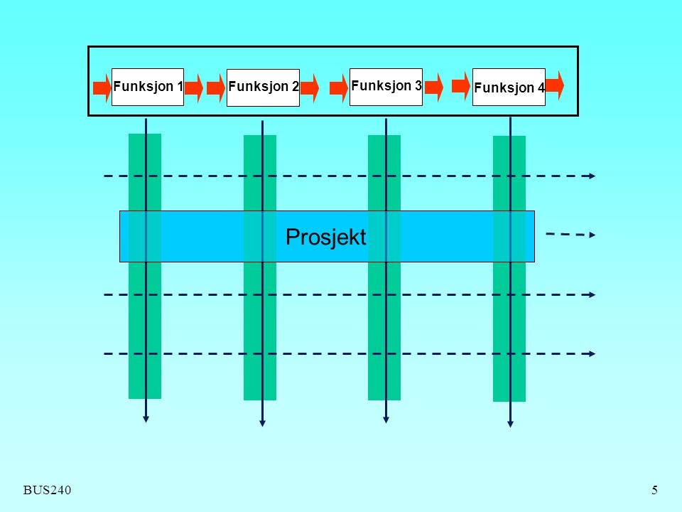 BUS2405 Funksjon 1Funksjon 2 Funksjon 3 Funksjon 4 Prosjekt