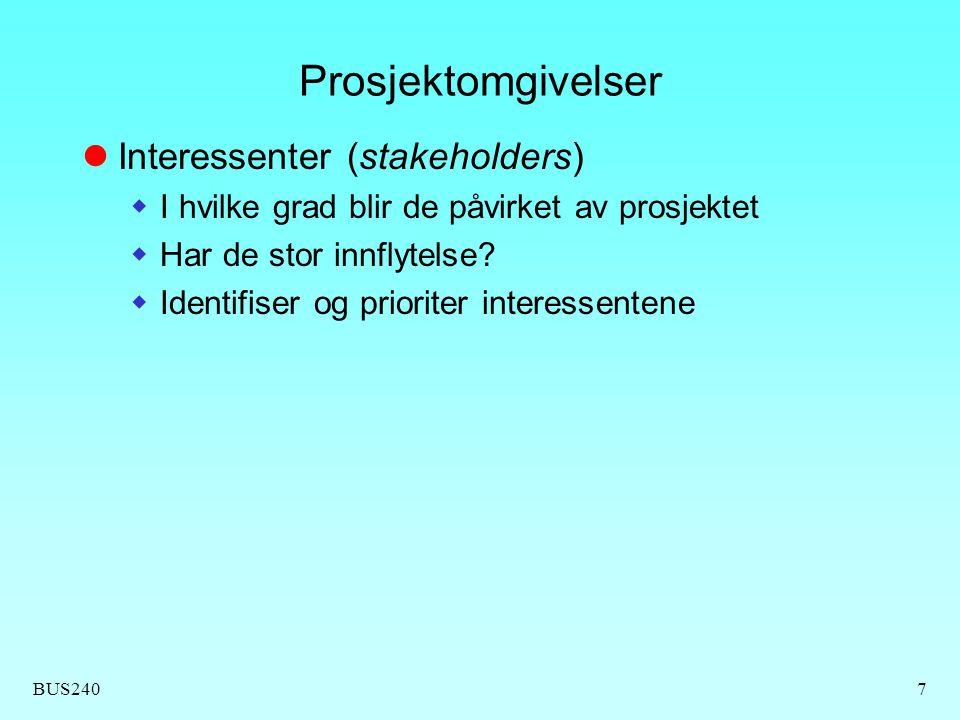 BUS2407 Prosjektomgivelser  Interessenter (stakeholders)  I hvilke grad blir de påvirket av prosjektet  Har de stor innflytelse.