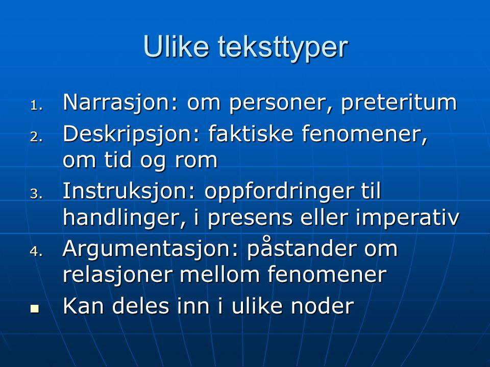 Ulike teksttyper 1. Narrasjon: om personer, preteritum 2. Deskripsjon: faktiske fenomener, om tid og rom 3. Instruksjon: oppfordringer til handlinger,