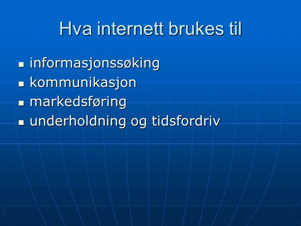 Hva internett brukes til  informasjonssøking  kommunikasjon  markedsføring  underholdning og tidsfordriv