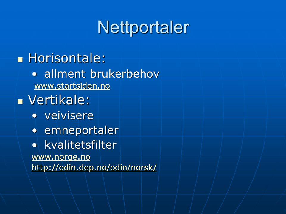 Nettportaler  Horisontale: • allment brukerbehov www.startsiden.no www.startsiden.nowww.startsiden.no  Vertikale:  Vertikale: • veivisere • emnepor