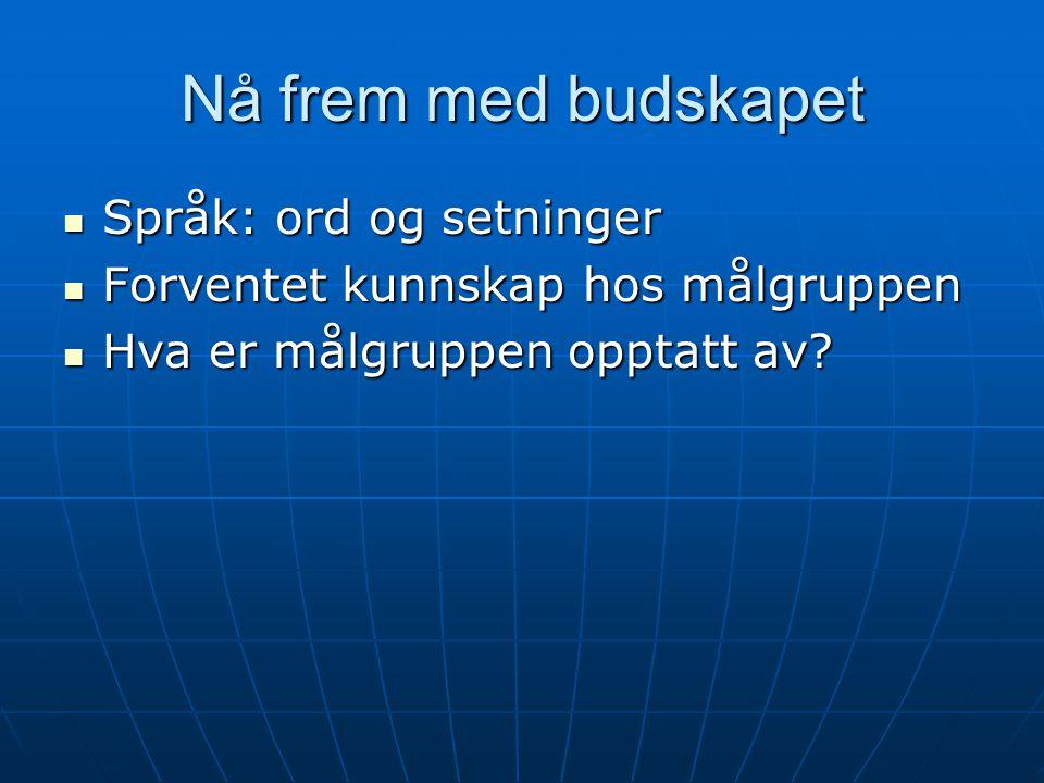 Nå frem med budskapet  Språk: ord og setninger  Forventet kunnskap hos målgruppen  Hva er målgruppen opptatt av?