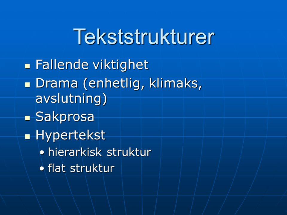 Tekststrukturer  Fallende viktighet  Drama (enhetlig, klimaks, avslutning)  Sakprosa  Hypertekst •hierarkisk struktur •flat struktur