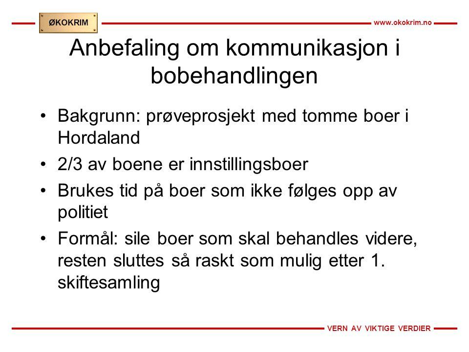 VERN AV VIKTIGE VERDIER www.okokrim.no Anbefaling om kommunikasjon i bobehandlingen •Bakgrunn: prøveprosjekt med tomme boer i Hordaland •2/3 av boene