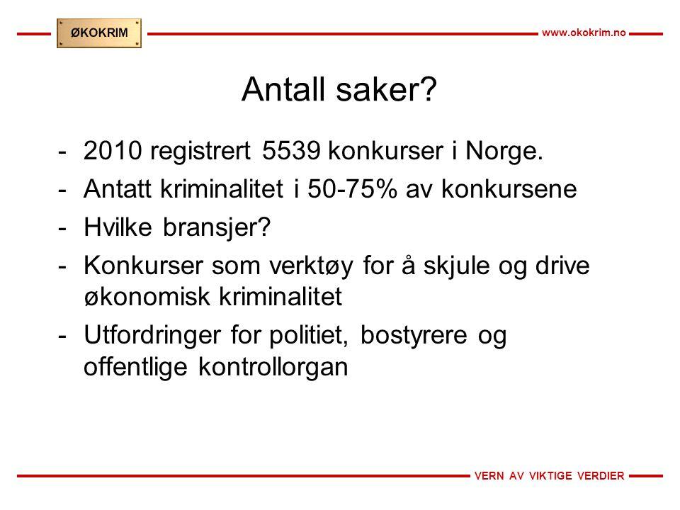 VERN AV VIKTIGE VERDIER www.okokrim.no Antall saker? -2010 registrert 5539 konkurser i Norge. -Antatt kriminalitet i 50-75% av konkursene -Hvilke bran