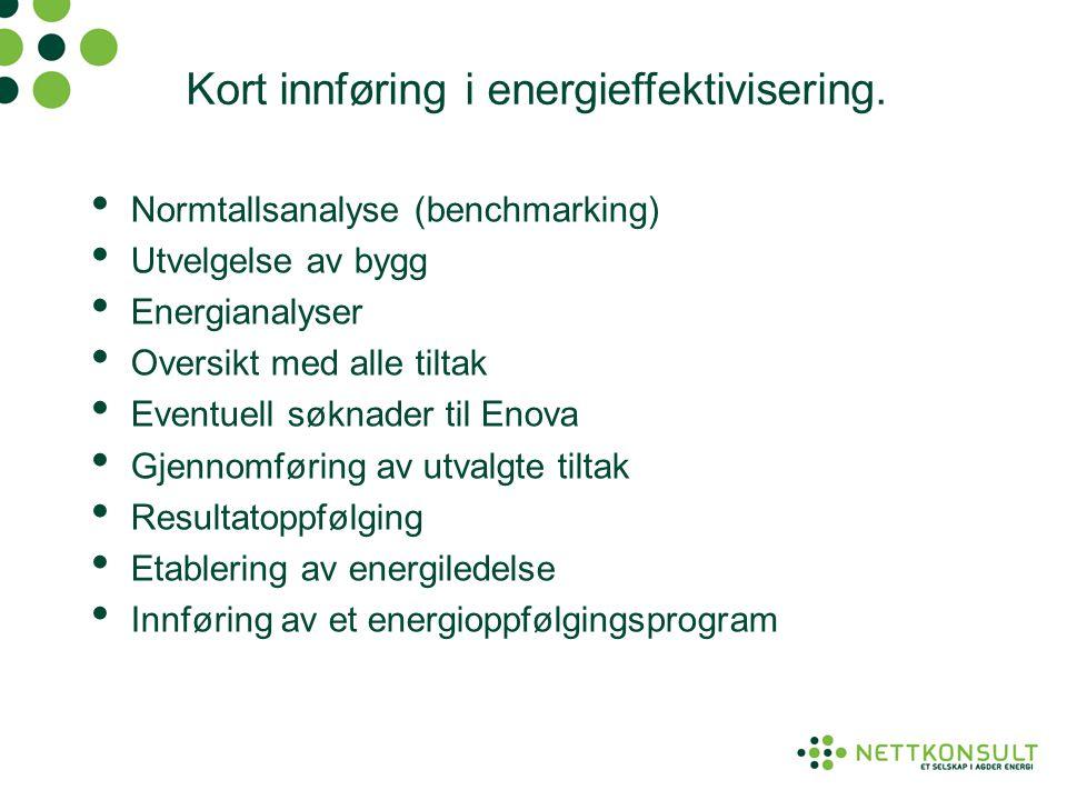 Kort innføring i energieffektivisering. • Normtallsanalyse (benchmarking) • Utvelgelse av bygg • Energianalyser • Oversikt med alle tiltak • Eventuell