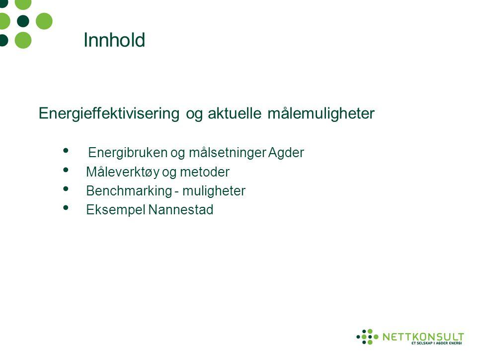 Innhold Energieffektivisering og aktuelle målemuligheter • Energibruken og målsetninger Agder • Måleverktøy og metoder • Benchmarking - muligheter • E