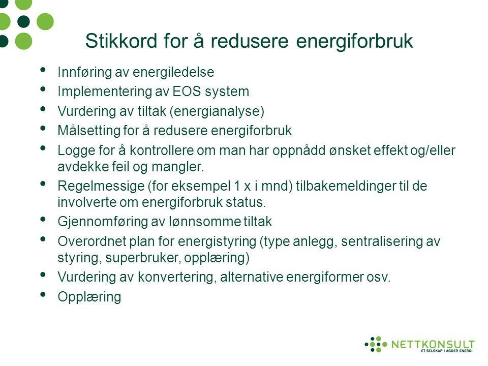 Stikkord for å redusere energiforbruk • Innføring av energiledelse • Implementering av EOS system • Vurdering av tiltak (energianalyse) • Målsetting f