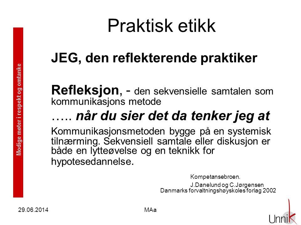 Modige møter i respekt og omtanke 29.06.2014MAa Praktisk etikk JEG, den reflekterende praktiker Refleksjon, - den sekvensielle samtalen som kommunikas