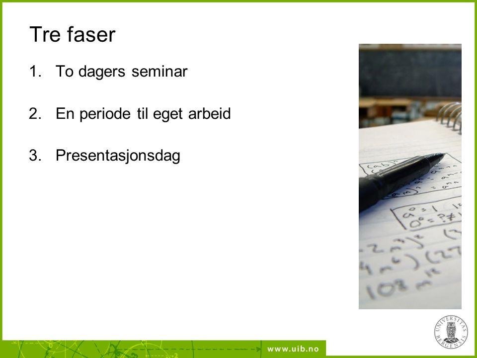 Tre faser 1.To dagers seminar 2.En periode til eget arbeid 3.Presentasjonsdag