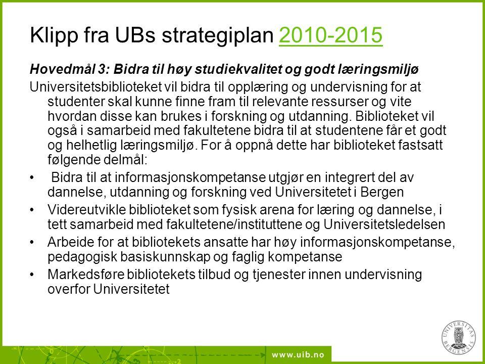 Klipp fra UBs strategiplan 2010-20152010-2015 Hovedmål 3: Bidra til høy studiekvalitet og godt læringsmiljø Universitetsbiblioteket vil bidra til oppl