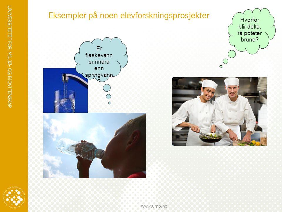 UNIVERSITETET FOR MILJØ- OG BIOVITENSKAP www.umb.no Eksempler på noen elevforskningsprosjekter Hvorfor blir delte, rå poteter brune? Er flaskevann sun