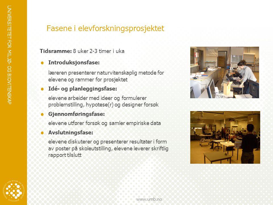 UNIVERSITETET FOR MILJØ- OG BIOVITENSKAP www.umb.no Fasene i elevforskningsprosjektet Tidsramme: 8 uker 2-3 timer i uka  Introduksjonsfase: læreren p