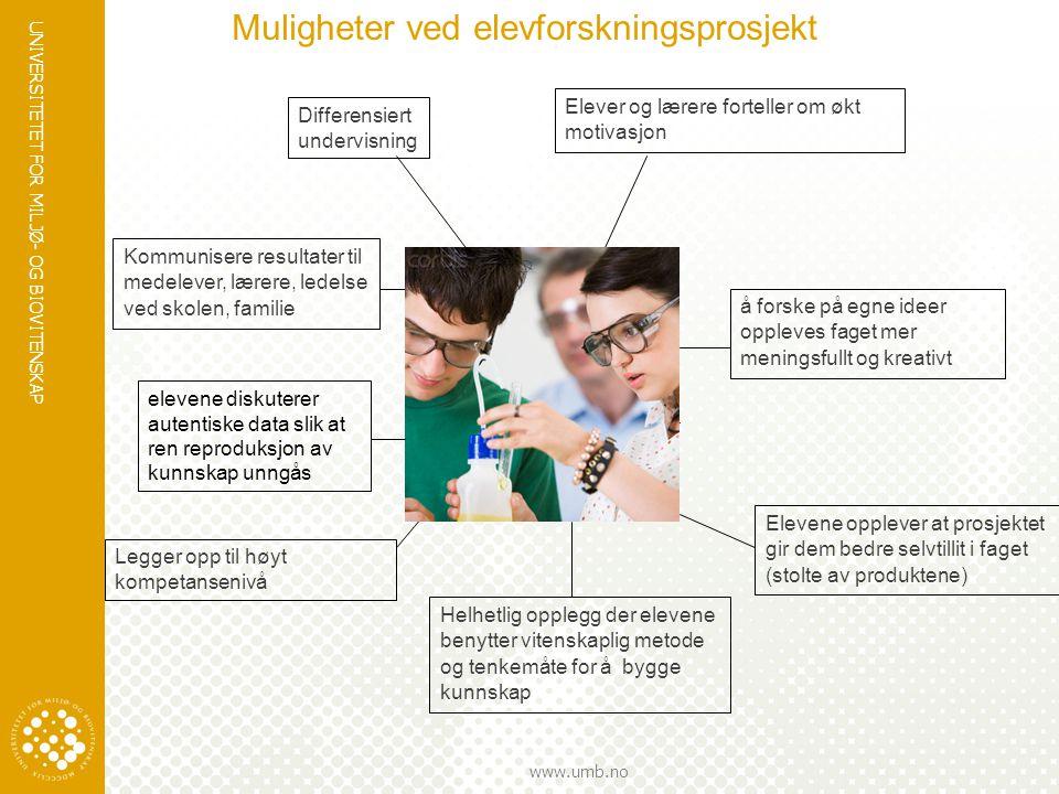 UNIVERSITETET FOR MILJØ- OG BIOVITENSKAP www.umb.no å forske på egne ideer oppleves faget mer meningsfullt og kreativt Elevene opplever at prosjektet