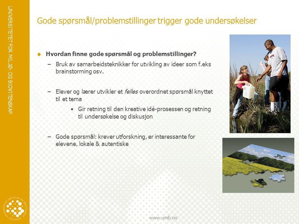 UNIVERSITETET FOR MILJØ- OG BIOVITENSKAP www.umb.no Gode spørsmål/problemstillinger trigger gode undersøkelser  Hvordan finne gode spørsmål og proble