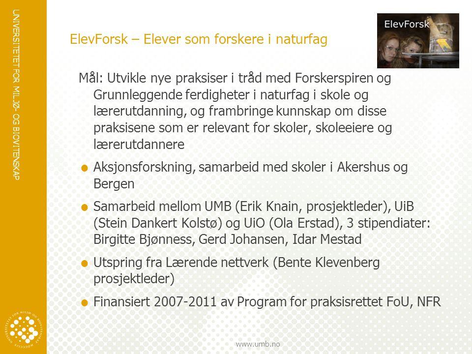 UNIVERSITETET FOR MILJØ- OG BIOVITENSKAP www.umb.no Kunnskapsbygging i et gjennomsiktig læringsfelleskap