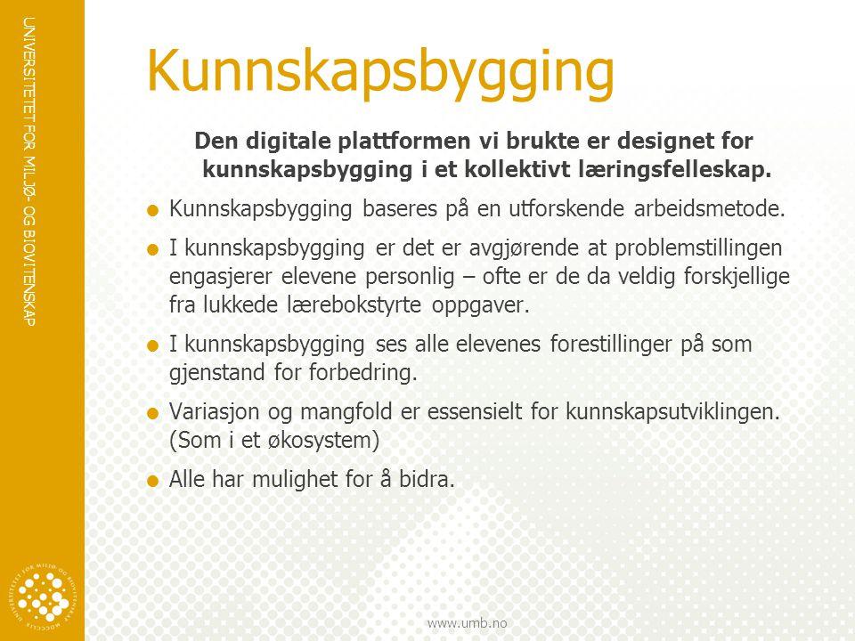UNIVERSITETET FOR MILJØ- OG BIOVITENSKAP www.umb.no Kunnskapsbygging Den digitale plattformen vi brukte er designet for kunnskapsbygging i et kollektivt læringsfelleskap.
