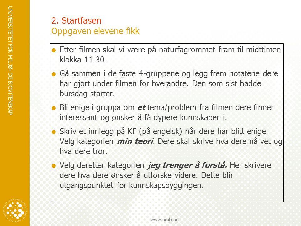 UNIVERSITETET FOR MILJØ- OG BIOVITENSKAP www.umb.no 2. Startfasen Oppgaven elevene fikk  Etter filmen skal vi være på naturfagrommet fram til midttim