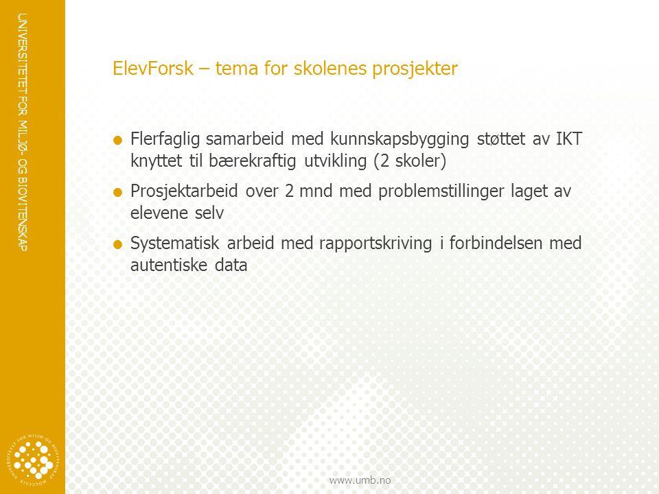 UNIVERSITETET FOR MILJØ- OG BIOVITENSKAP www.umb.no ElevForsk – tema for skolenes prosjekter  Flerfaglig samarbeid med kunnskapsbygging støttet av IK