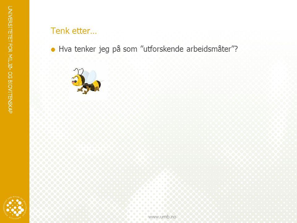 """UNIVERSITETET FOR MILJØ- OG BIOVITENSKAP www.umb.no Tenk etter…  Hva tenker jeg på som """"utforskende arbeidsmåter""""?"""