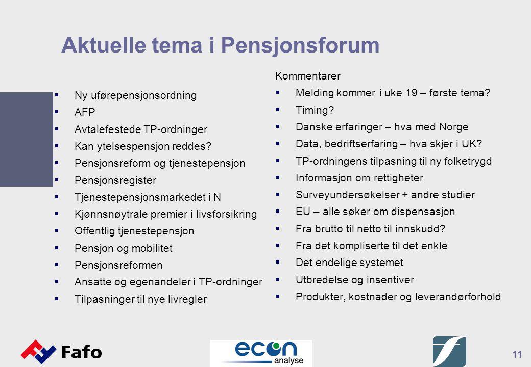 11 Aktuelle tema i Pensjonsforum  Ny uførepensjonsordning  AFP  Avtalefestede TP-ordninger  Kan ytelsespensjon reddes?  Pensjonsreform og tjenest