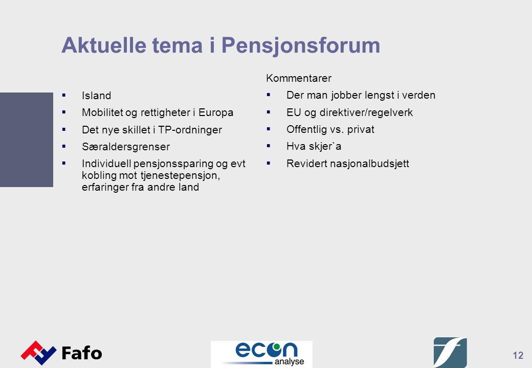 12 Aktuelle tema i Pensjonsforum  Island  Mobilitet og rettigheter i Europa  Det nye skillet i TP-ordninger  Særaldersgrenser  Individuell pensjo
