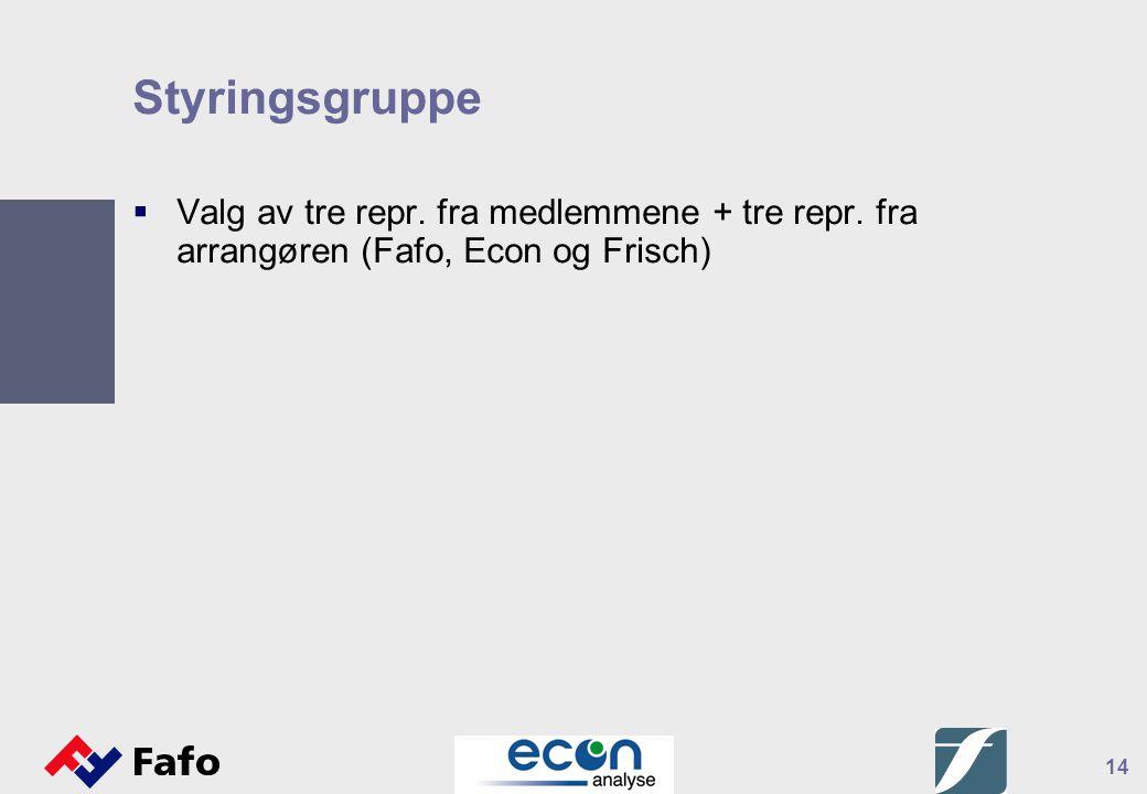 14 Styringsgruppe  Valg av tre repr. fra medlemmene + tre repr. fra arrangøren (Fafo, Econ og Frisch)