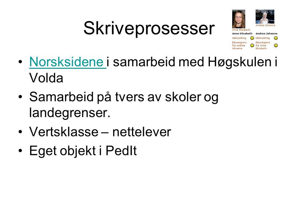 Skriveprosesser •Norsksidene i samarbeid med Høgskulen i VoldaNorsksidene •Samarbeid på tvers av skoler og landegrenser.