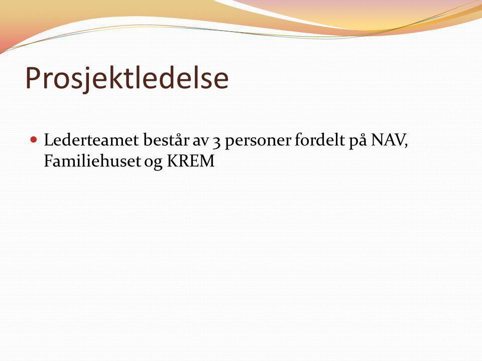 Prosjektledelse  Lederteamet består av 3 personer fordelt på NAV, Familiehuset og KREM