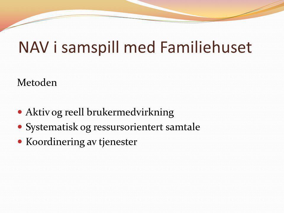 NAV i samspill med Familiehuset Metoden  Aktiv og reell brukermedvirkning  Systematisk og ressursorientert samtale  Koordinering av tjenester