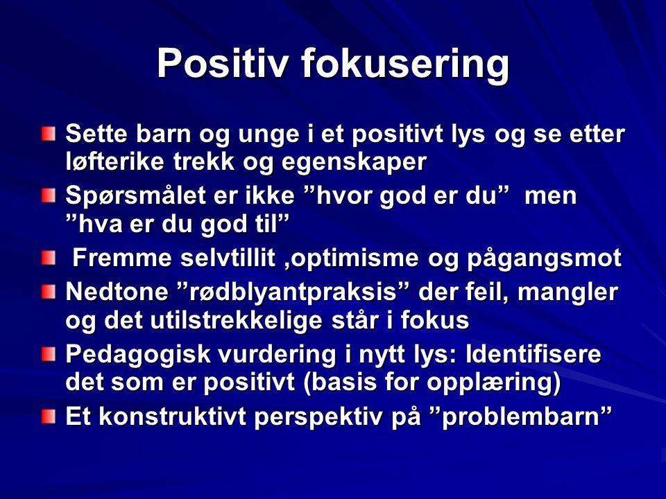 """Positiv fokusering Sette barn og unge i et positivt lys og se etter løfterike trekk og egenskaper Spørsmålet er ikke """"hvor god er du"""" men """"hva er du g"""