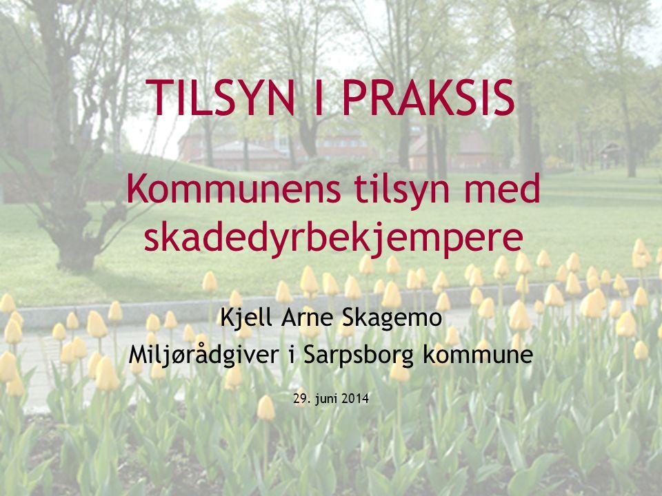 TILSYN I PRAKSIS Kjell Arne Skagemo Miljørådgiver i Sarpsborg kommune 29. juni 2014 Kommunens tilsyn med skadedyrbekjempere
