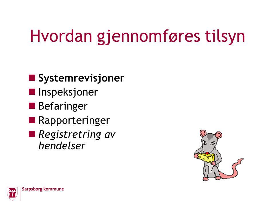 Hvordan gjennomføres tilsyn  Systemrevisjoner  Inspeksjoner  Befaringer  Rapporteringer  Registretring av hendelser