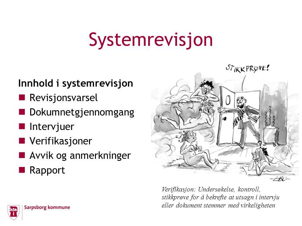 Systemrevisjon Innhold i systemrevisjon  Revisjonsvarsel  Dokumnetgjennomgang  Intervjuer  Verifikasjoner  Avvik og anmerkninger  Rapport Verifi