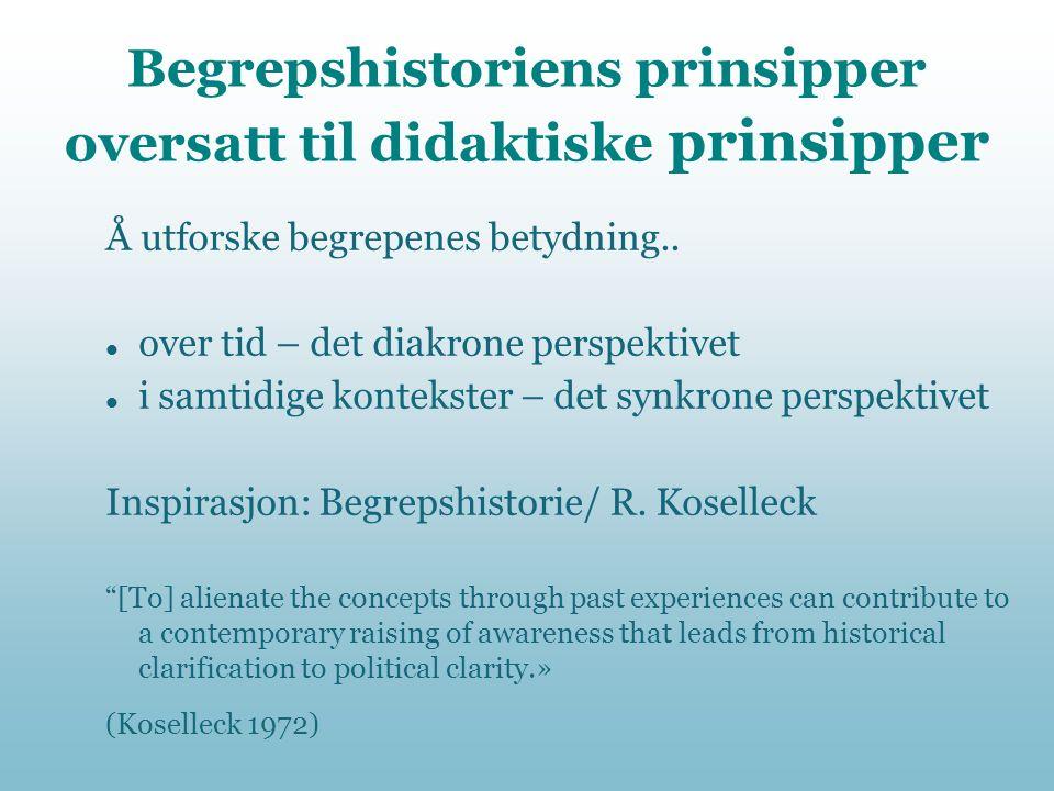 Begrepshistoriens prinsipper oversatt til didaktiske prinsipper Å utforske begrepenes betydning..  over tid – det diakrone perspektivet  i samtidige