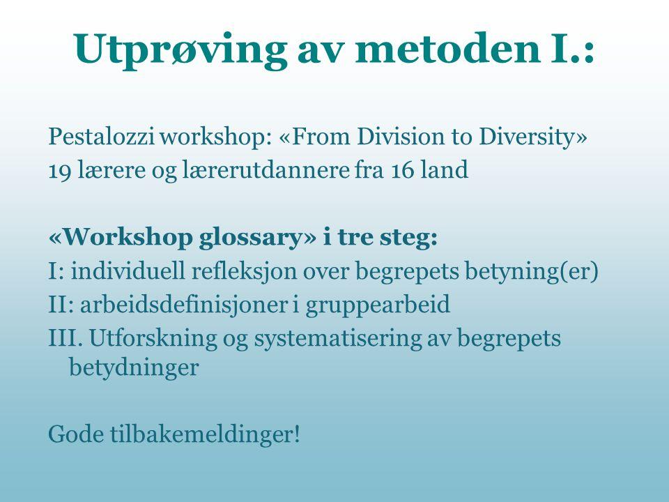 Utprøving av metoden I.: Pestalozzi workshop: «From Division to Diversity» 19 lærere og lærerutdannere fra 16 land «Workshop glossary» i tre steg: I: