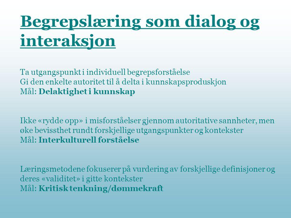 Begrepslæring som dialog og interaksjon Ta utgangspunkt i individuell begrepsforståelse Gi den enkelte autoritet til å delta i kunnskapsproduskjon Mål