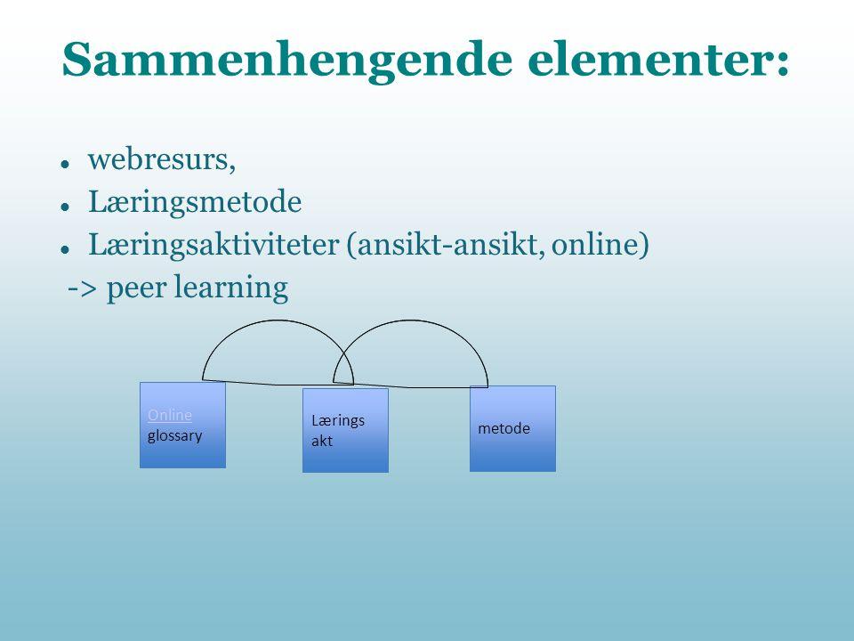 Sammenhengende elementer:  webresurs,  Læringsmetode  Læringsaktiviteter (ansikt-ansikt, online) -> peer learning Online glossary Lærings akt metod