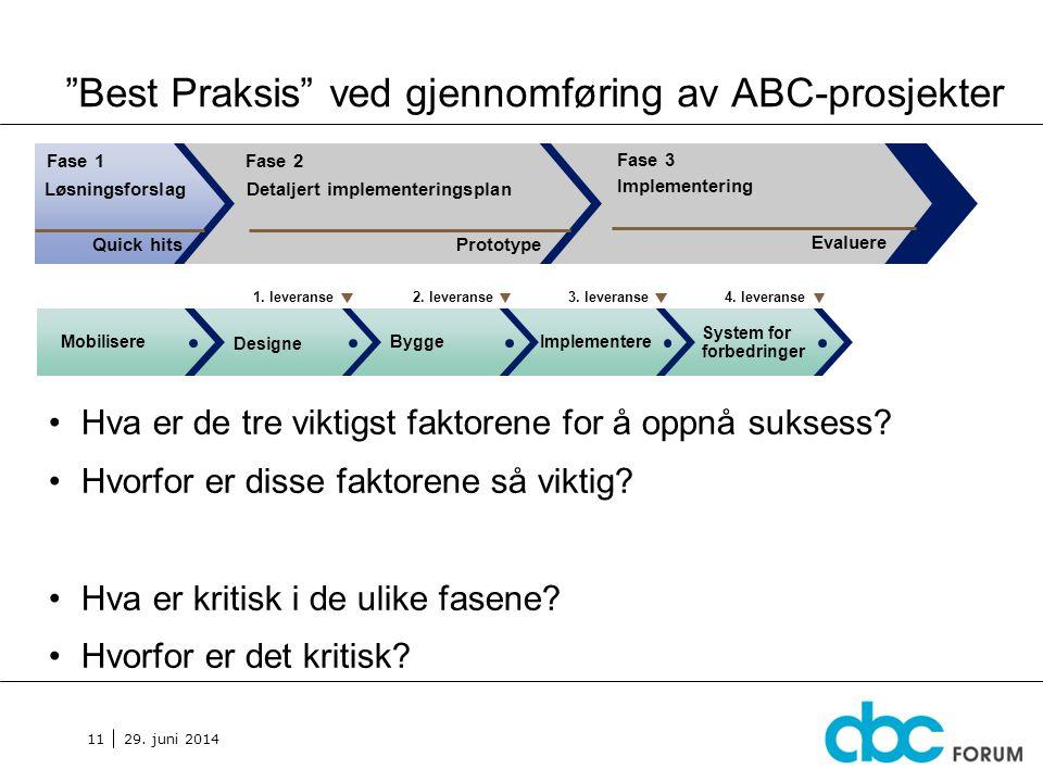 """29. juni 2014 11 """"Best Praksis"""" ved gjennomføring av ABC-prosjekter •Hva er de tre viktigst faktorene for å oppnå suksess? •Hvorfor er disse faktorene"""