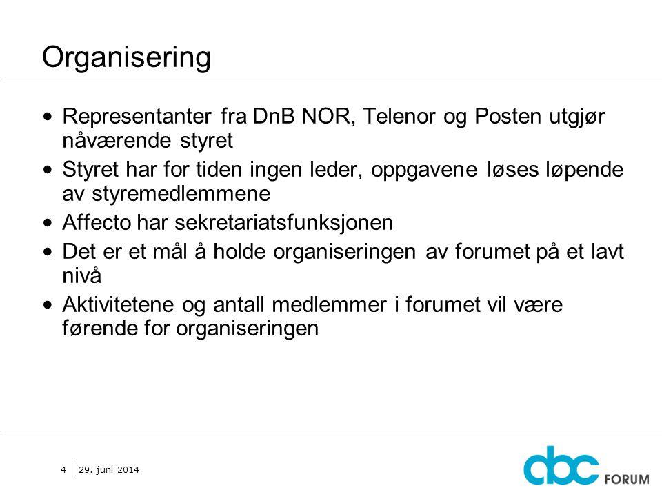 29. juni 2014 4 Organisering • Representanter fra DnB NOR, Telenor og Posten utgjør nåværende styret • Styret har for tiden ingen leder, oppgavene løs