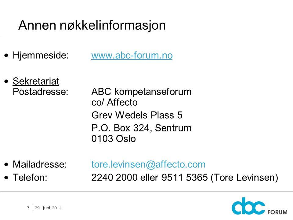 29. juni 2014 7 Annen nøkkelinformasjon • Hjemmeside: www.abc-forum.no • Sekretariat Postadresse: ABC kompetanseforum co/ Affecto Grev Wedels Plass 5