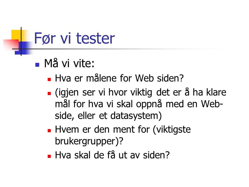 Før vi tester  Må vi vite:  Hva er målene for Web siden.